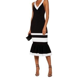Jonathan Simkhai Black and White Fluted Dress